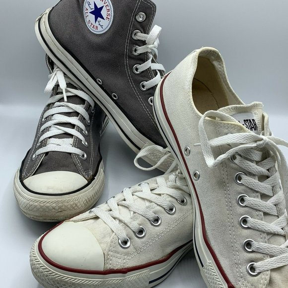 Converse Other - Converse Lot of 2 Gray Hight Tops & White Low Tops